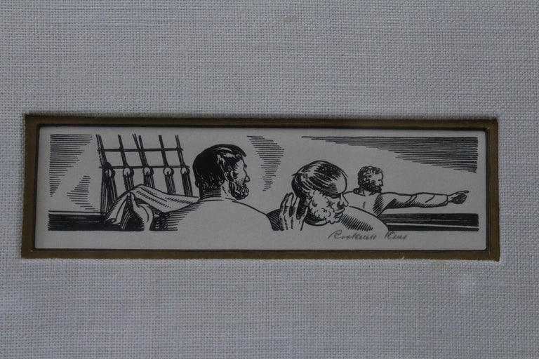 Rockwell Kent 1930s pencil signed lithograph from Herman Melville's Moby Dick. Matted in off-white linen with black and silver frame.