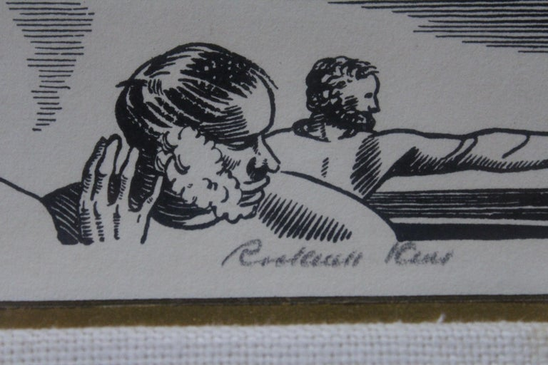 Mid-Century Modern Rockwell Kent 1930s Pencil Signed Lithograph from Herman Melville's Moby Dick