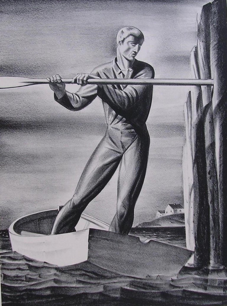 Rockwell Kent stone lithograph, 1929. Signed in pencil lower right. Measures: 13.75