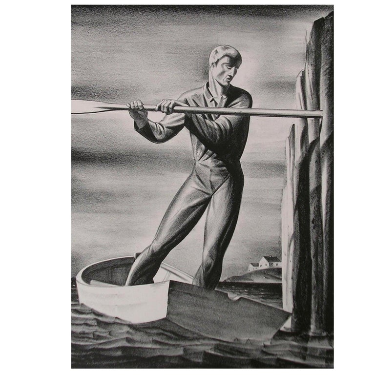 """Rockwell Kent Original Stone Lithograph, 1929, """"The Boatman"""" For Sale"""