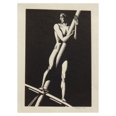 "Rockwell Kent Original Wood Engraving, 1930, ""The Lookout"""