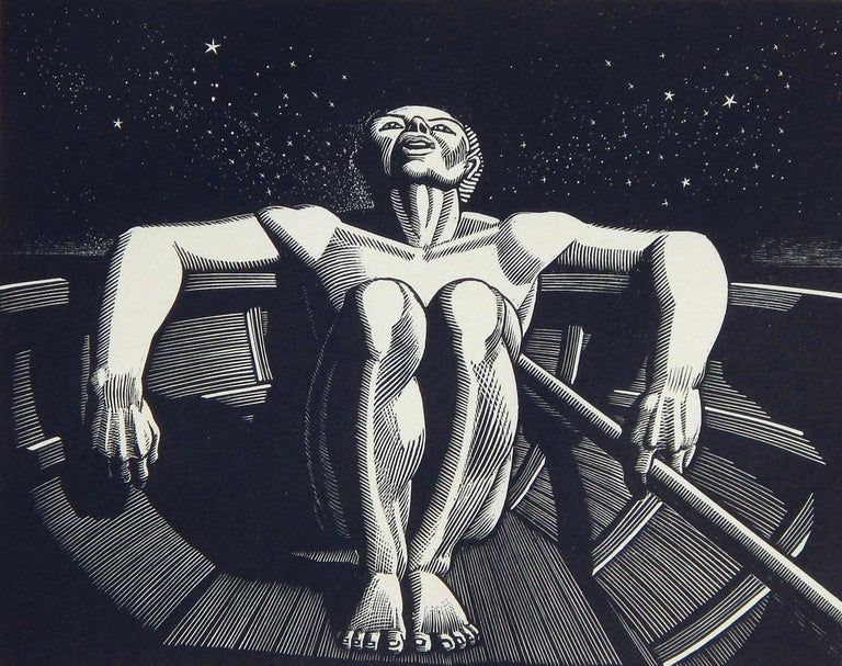 Rockwell Kent original wood engraving, 1933. Signed in pencil lower right. 5.38