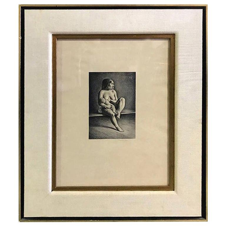 """Rockwell Kent Pencil Signed Lithograph """"Greenland Mother, Nursing Child"""", 1934 For Sale"""