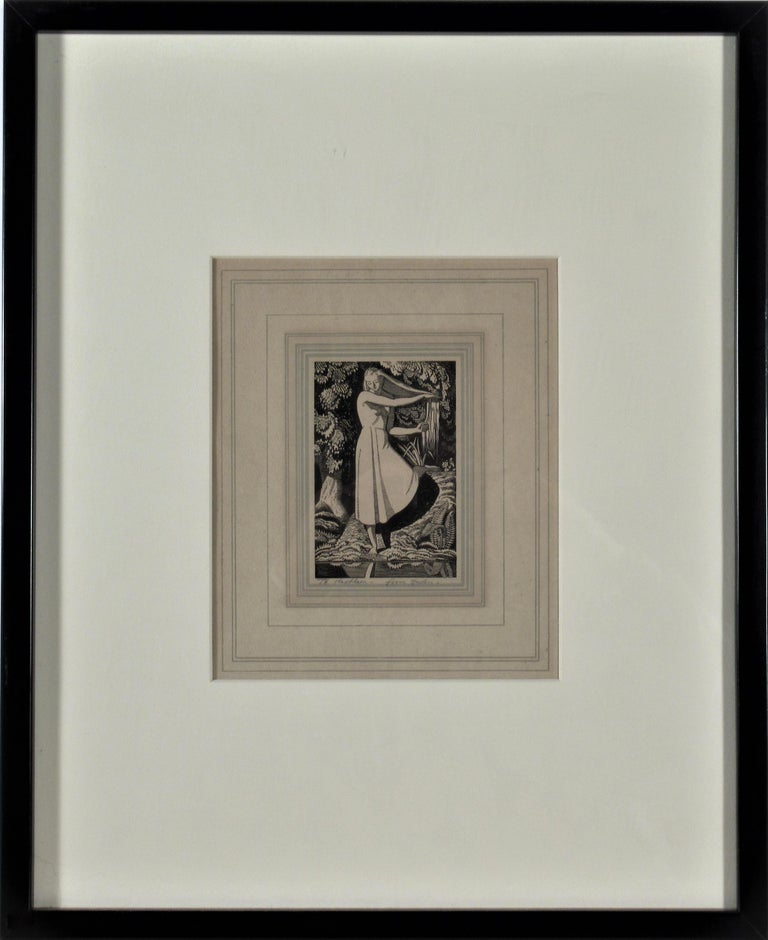 Rockwell Kent Figurative Print - Girl on the Front of a Pond