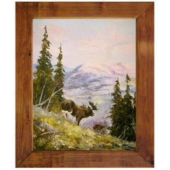 Rocky Mountains Painting with Moose Oil on Canvas, 1950