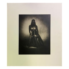 Rocky Schenck Signed Toned Silver Gelatin Photograph Print Nude with Crutches