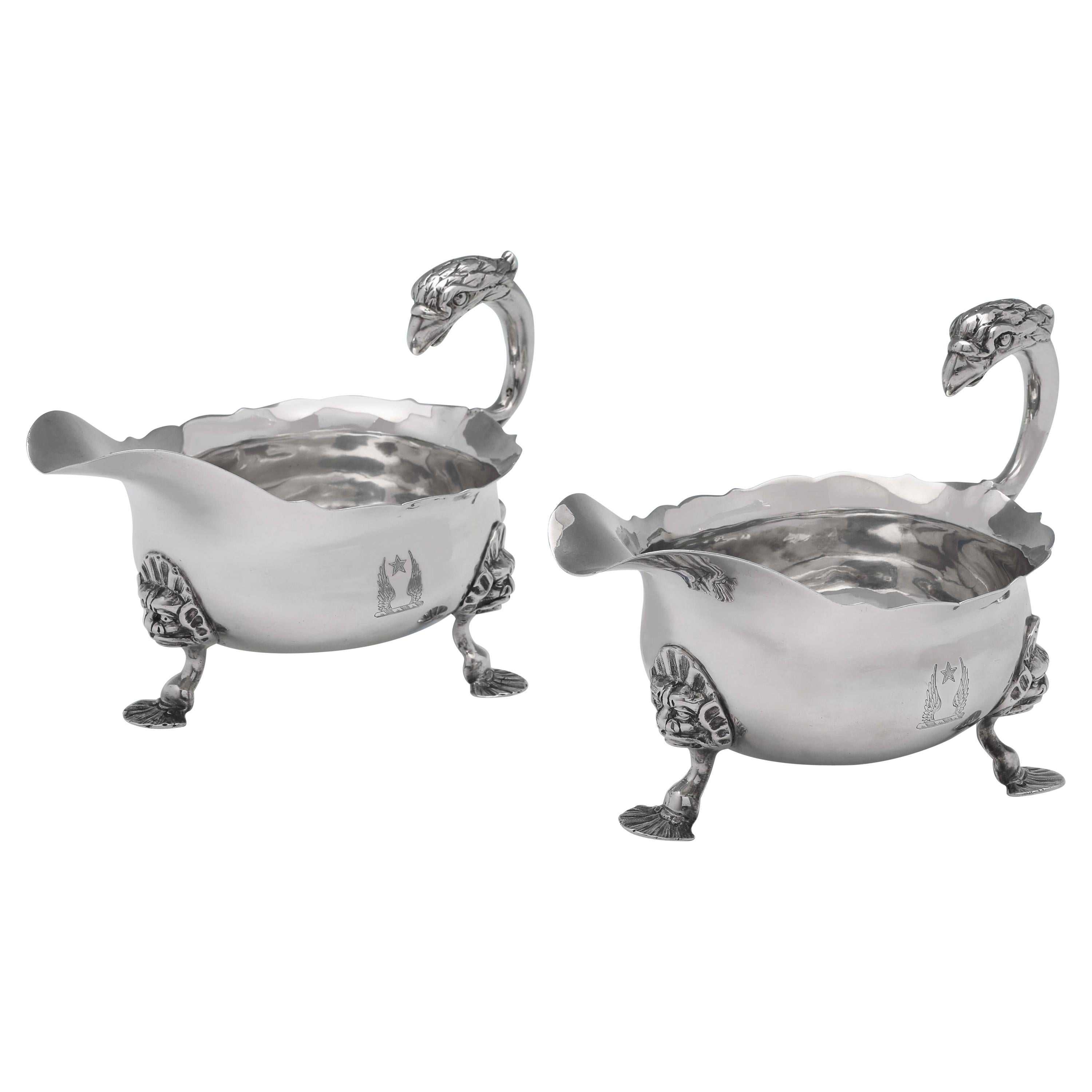 Rococo Antique Sterling Silver Pair of 'Eagle' Handle Sauce Boats, London, 1748