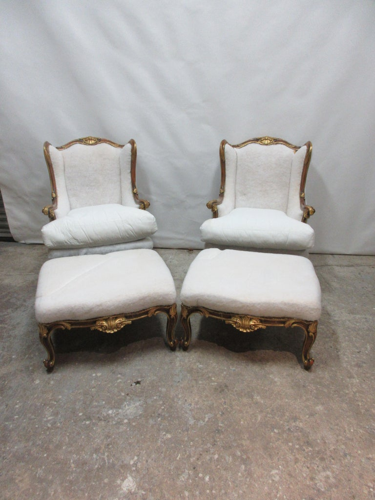 This is a set of 2 Rococo bergers and ottomans, they are in original condition and waiting to be covered.