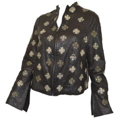 Rococo Black Embellished Leather Jacket