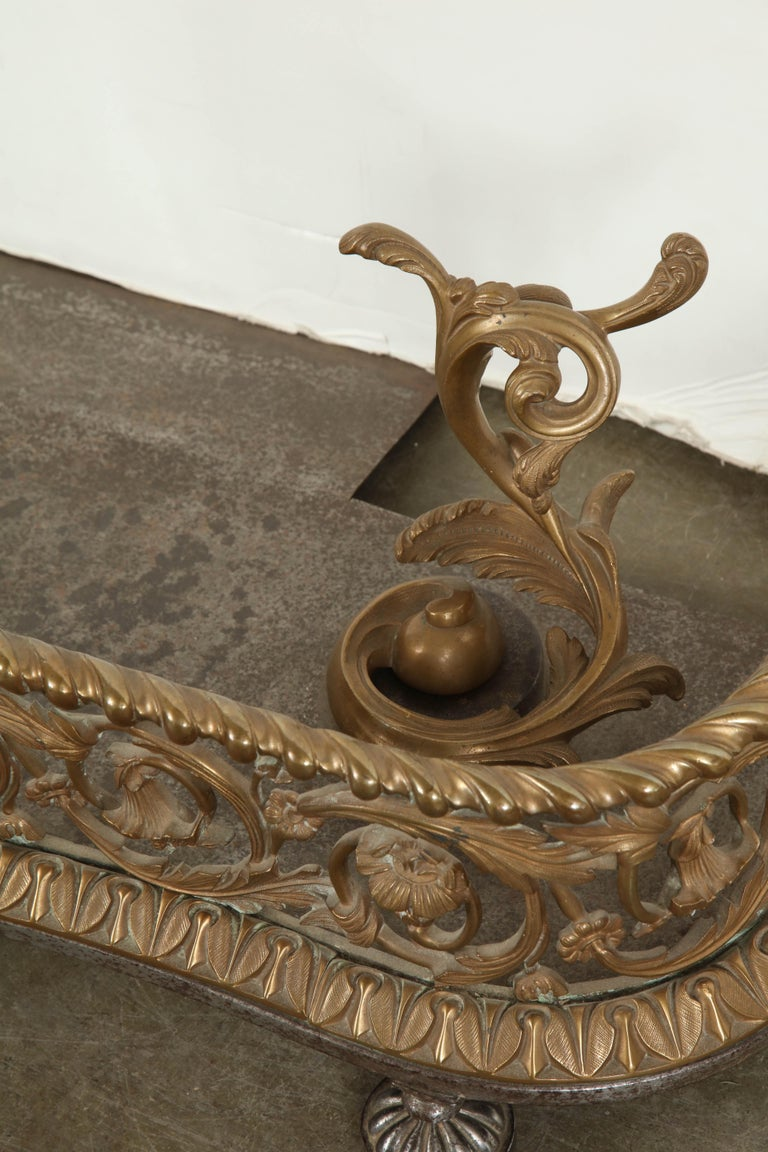 Rococo Bronze Fireplace Fender For Sale 4