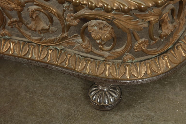 Rococo Bronze Fireplace Fender For Sale 5