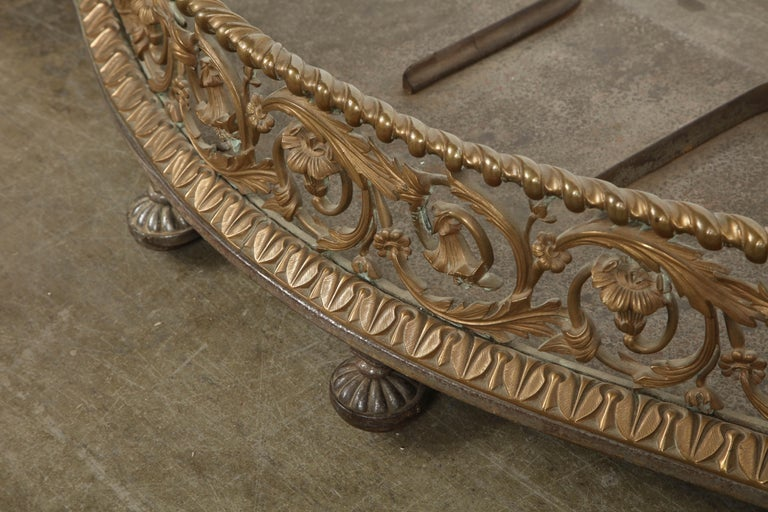 Rococo Bronze Fireplace Fender For Sale 6