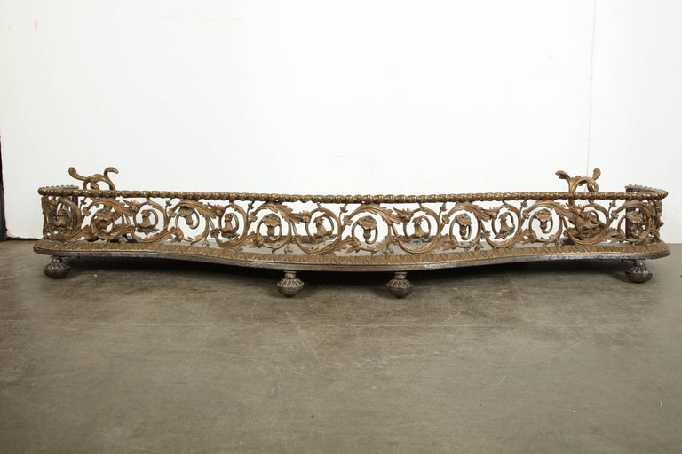 Rococo Bronze Fireplace Fender In Good Condition For Sale In New York, NY