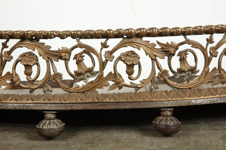 Brass Rococo Bronze Fireplace Fender For Sale