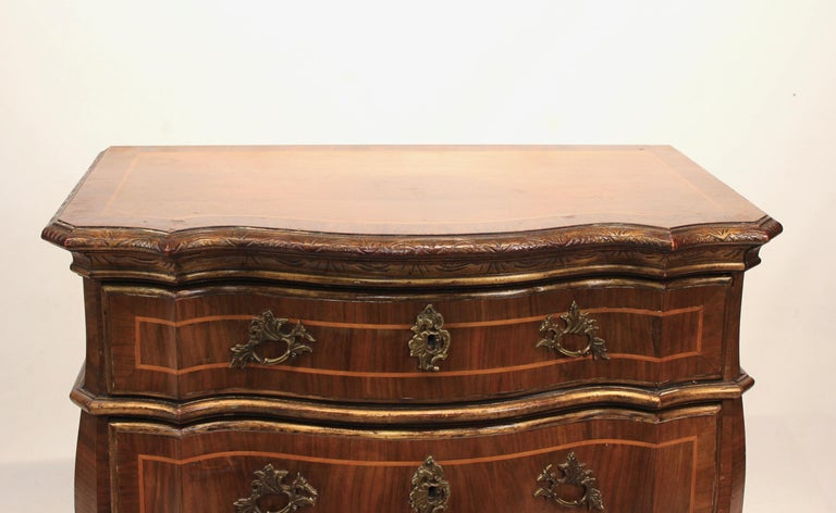 Rococo chest of drawers in walnut from Denmark and circa 1880. The chest is in great antique condition.