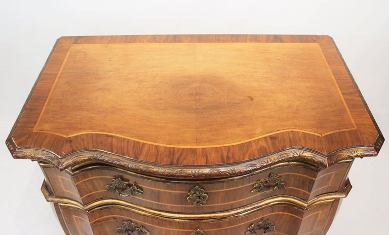 Late 19th Century Rococo Chest of Drawers in Walnut from Denmark and circa 1880 For Sale