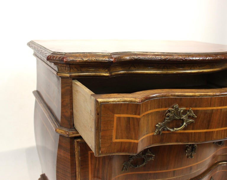 Rococo Chest of Drawers in Walnut from Denmark and circa 1880 For Sale 1