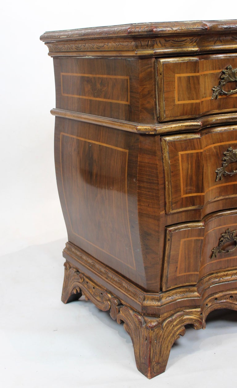 Rococo Chest of Drawers in Walnut from Denmark and circa 1880 For Sale 3