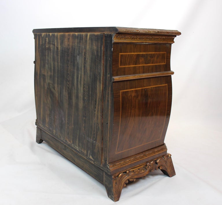 Rococo Chest of Drawers in Walnut from Denmark and circa 1880 For Sale 4