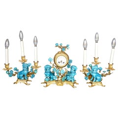 Rococo Chinosoiserie Style Three-Piece Gilt Bronze and Porcelain Clock Garniture