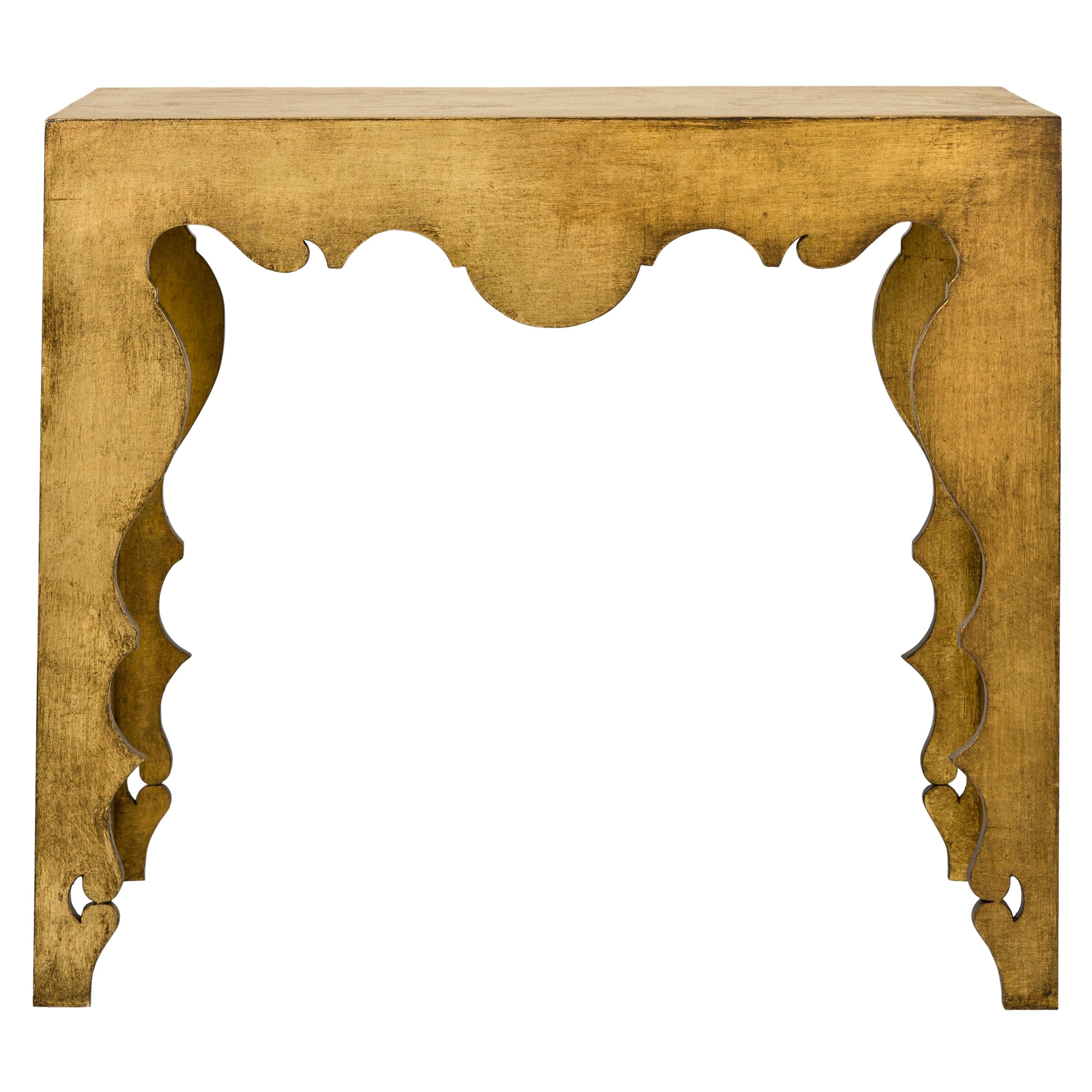 Contemporary Console Table in Gold Leaf
