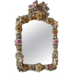 Rococo Flower and Angels Porcelain Wall Mirror, Thuringia, Late 19th Century