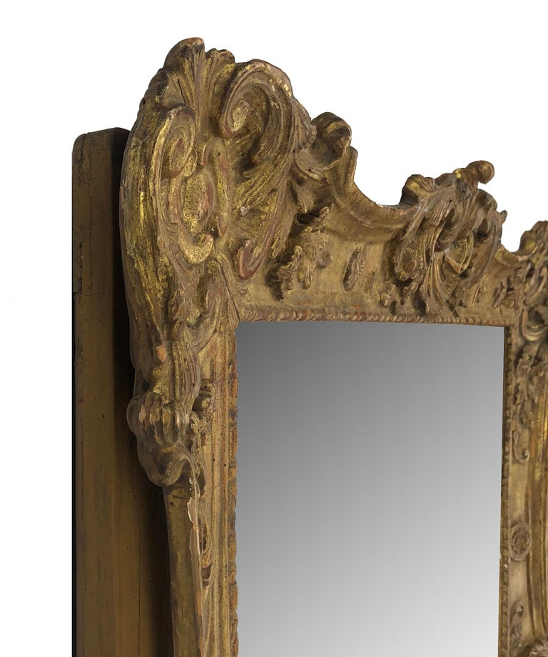 Hand carved and gilt, French style large mirror frame, pair available.