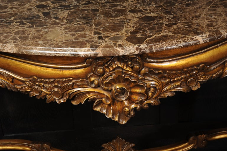 Rococo Giltwood Console Table with Marble Top For Sale 4