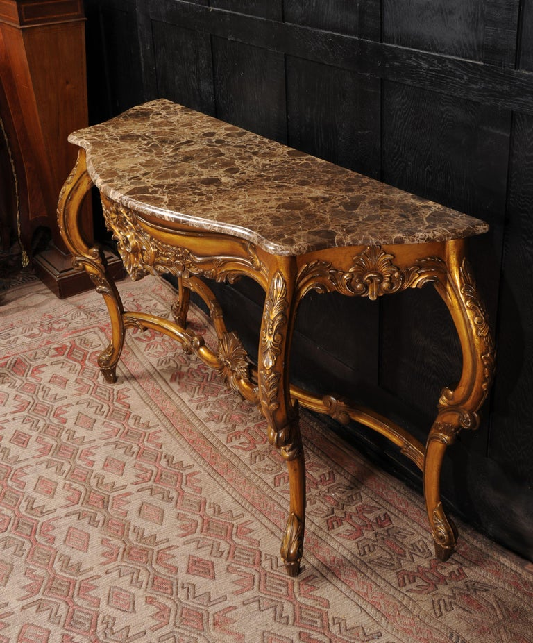20th Century Rococo Giltwood Console Table with Marble Top For Sale