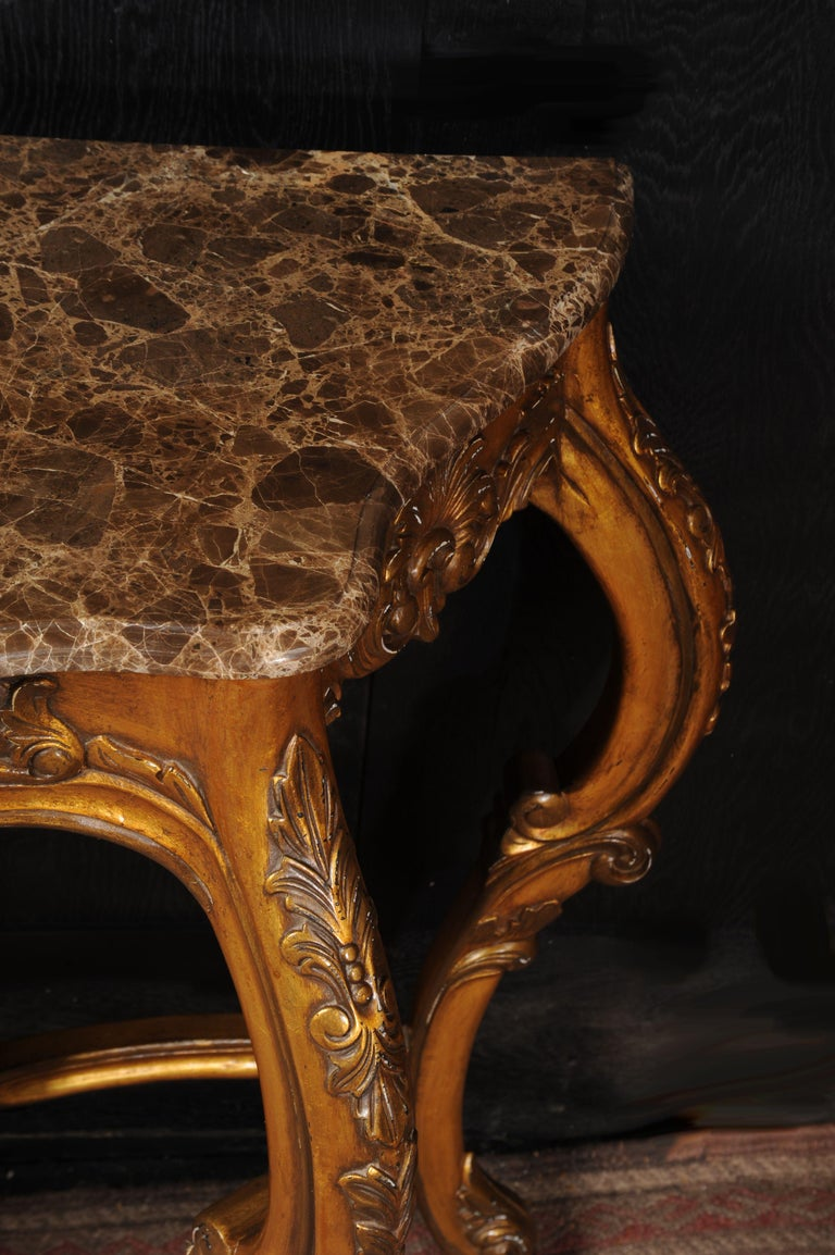 Gesso Rococo Giltwood Console Table with Marble Top For Sale