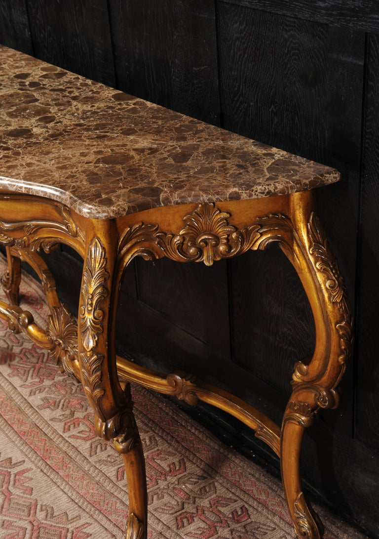 Rococo Giltwood Console Table with Marble Top For Sale 2