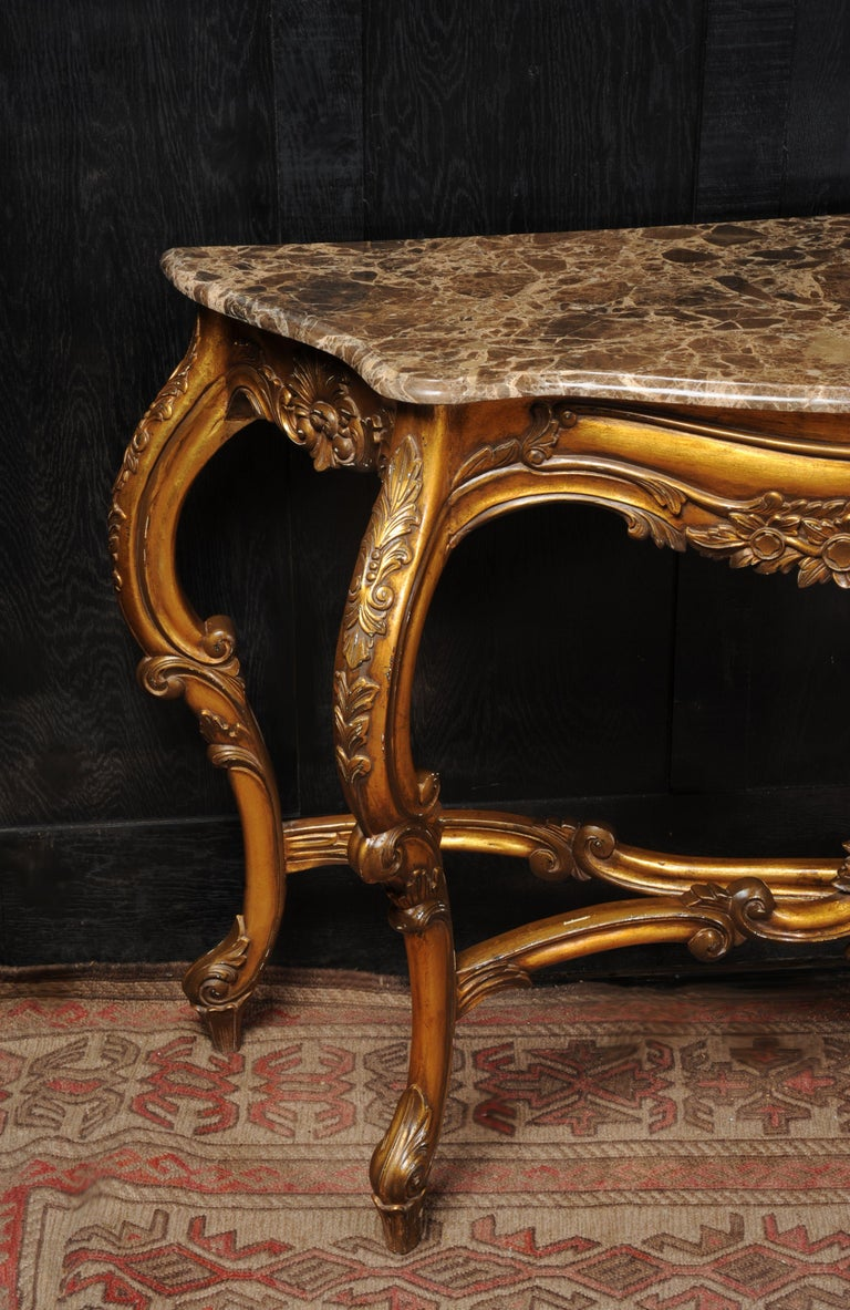 Rococo Giltwood Console Table with Marble Top For Sale 3