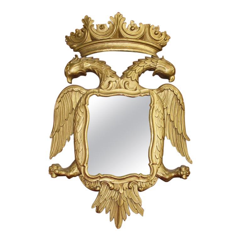 Rococo Giltwood Golden Phoenix Bird Wall Mirror, 19th Century, England For Sale