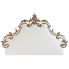 Rococo Headboard in Antique White with Silver Highlights
