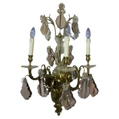 Rococo Louis XV Style Pair of Heavy Bronze Wall Sconces