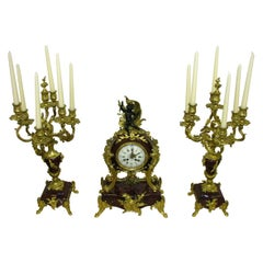 Rococo Mantel Clock with Two Candelabra Cherry Marble Gilded Bronze, circa 1880