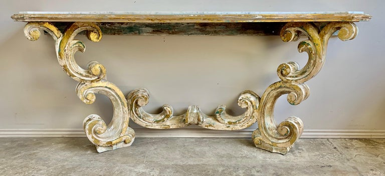 Italian Rococo Painted Carved Parcel Gilt Console with Carrara Marble Top For Sale