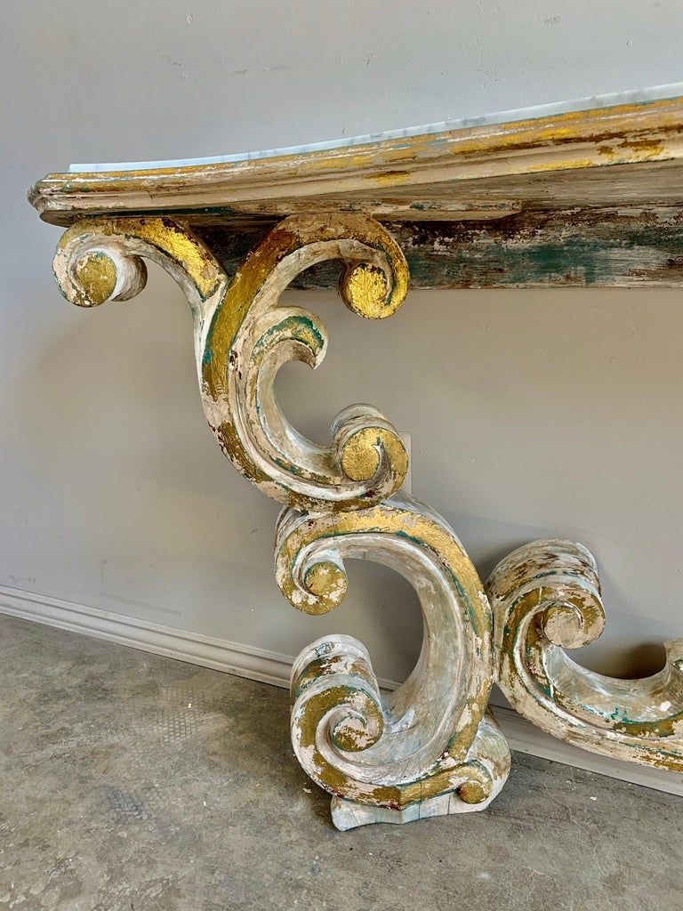 20th Century Rococo Painted Carved Parcel Gilt Console with Carrara Marble Top For Sale
