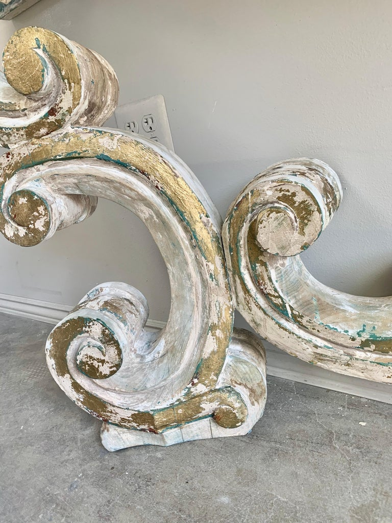 Rococo Painted Carved Parcel Gilt Console with Carrara Marble Top For Sale 1