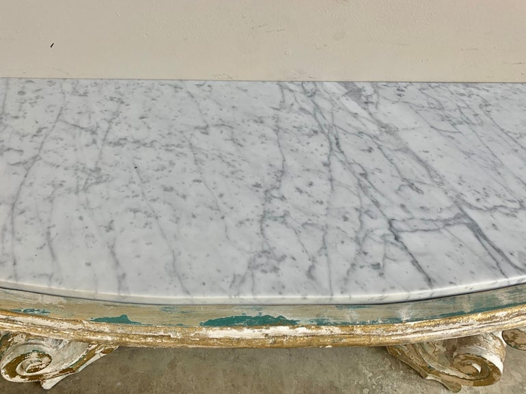 Rococo Painted Carved Parcel Gilt Console with Carrara Marble Top For Sale 2
