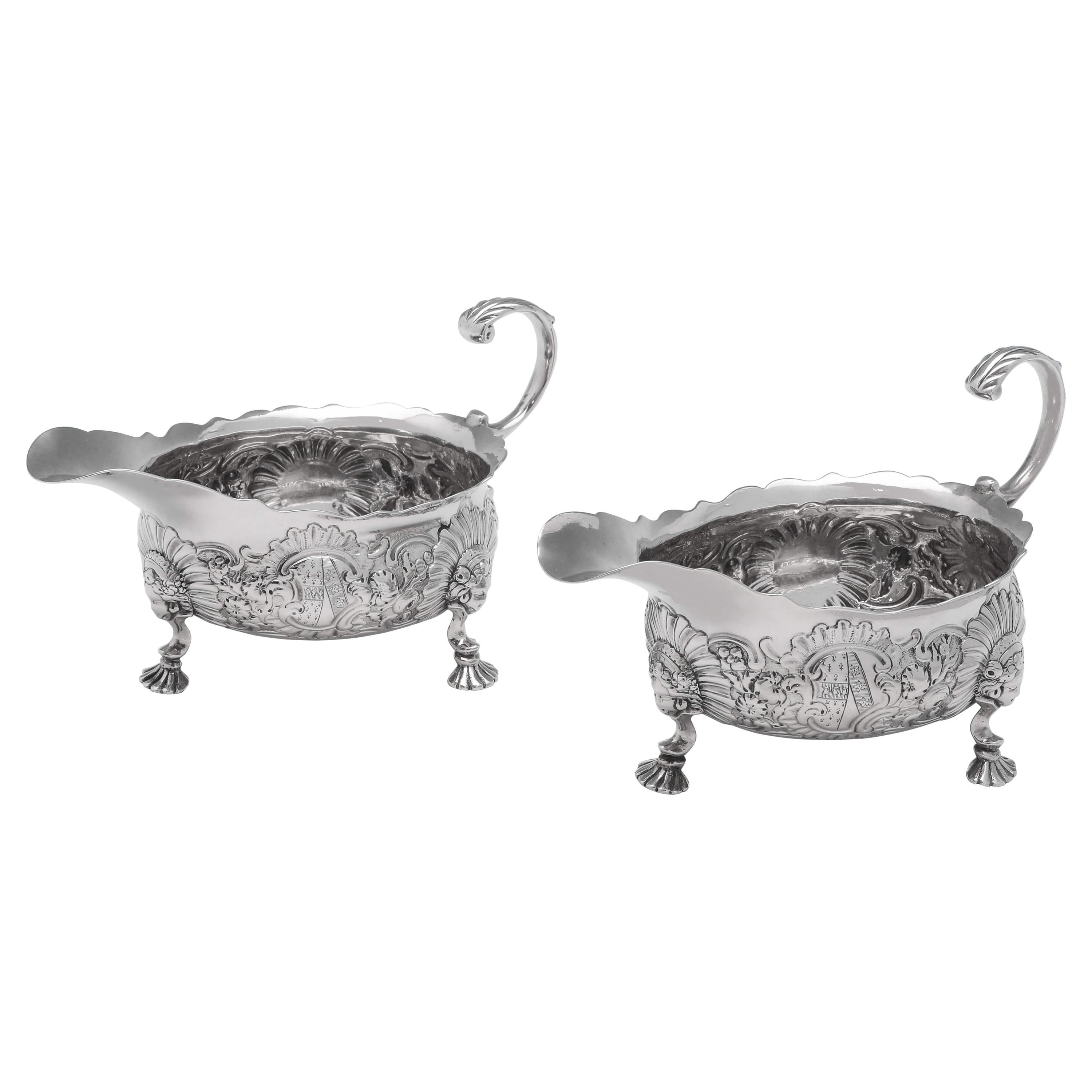 Rococo Period Antique Sterling Silver Pair of Sauce Boats London 1746 R. Kersill