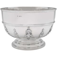 Rococo Revival Antique Sterling Silver Bowl by C. S. Harris London, 1898
