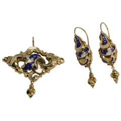 Rococo Revival Demiparure Enameled Earrings and Pendant 14 Karat Yellow Gold