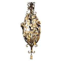 Rococo Revival Gilt Metal Climbing Rose Lantern Pendant, Trompe L'oeil Tassle