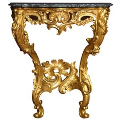 Rococo Revival Giltwood and Marble Console Table