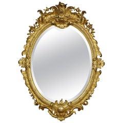 Rococo Revival Giltwood Oval Wall Mirror