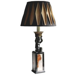 Rococo Revival Onyx and Bronze Putti Table Lamp