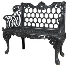 "Rococo Revival Painted Cast Iron ""Rose Garden Bench"" by Kramer Bros"