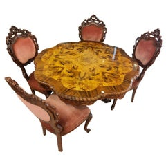 Rococo Revival Table Set, Living or Dining Room, Table and 4 Chairs