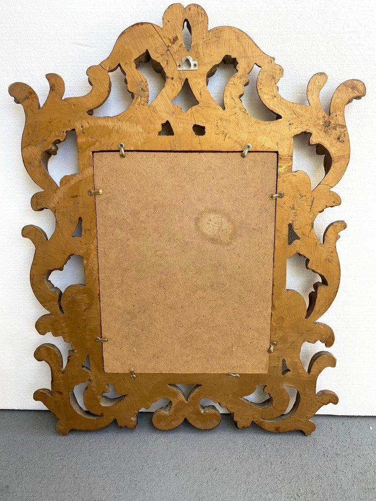 Rococo Small Ornamental Mirror with Carved Giltwood Frame, Italy, circa 1940s For Sale 5